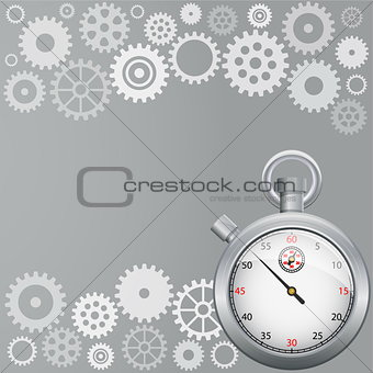 Background with gears and stopwatch.