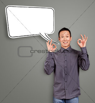 Asian Man Shows OK with Speech Bubble