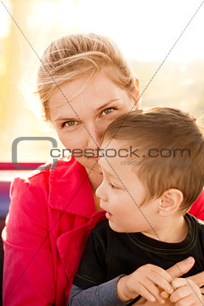 Woman And Boy Happy Family