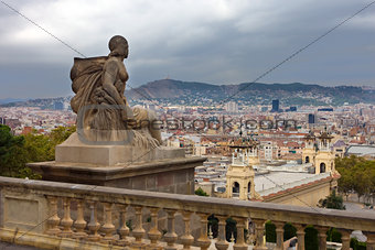 View to Barcelona from Museu nacional d Art de Catalunya