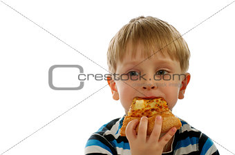 Little Boy Eating Pizza