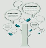 speech bubble tree with birds, infographic vector