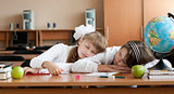 Two overworked preteen schoolgirls are sleeping on their desk