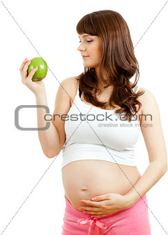 Pregnant woman eating healthy food