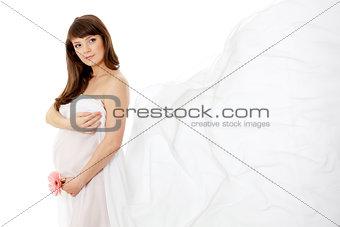 pregnant woman (28 week) with white chiffon shawl