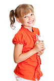 School girl portrait with water glass isolated