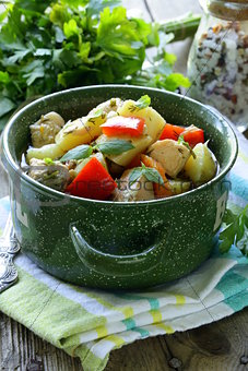salmon fish stew with  vegetables