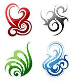 Design elements. Fire, water, grass, wind