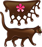 Chocolate flower decor and cat