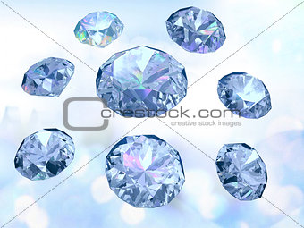 Diamonds on light blue background, successful trade symbol