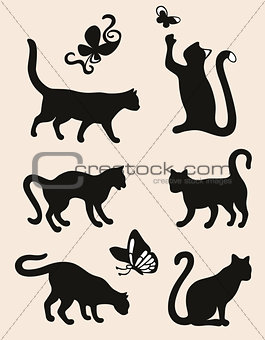 Six cat silhouettes