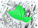 Green Leaves Sign on Alphabet Background.