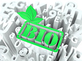 Green Bio Sign on Alphabet Background.
