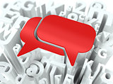 Red Speech Bubble on Alphabet Background.
