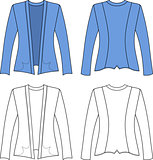 Template outline illustration of a blank cardigan