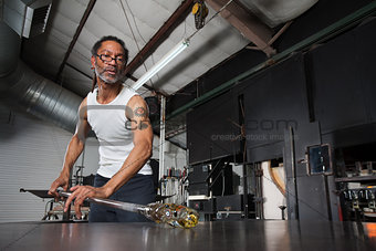 Busy Glass Artisan Working