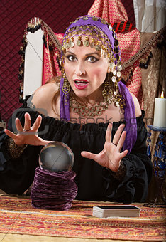 Caucasian Lady with Crystal Ball