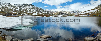 Alps mountain lake (spring panorama).