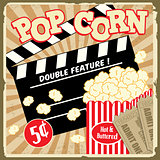 Popcorn with clapper board and movie tickets vintage poster