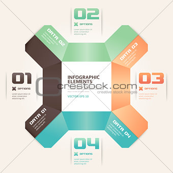 Modern Origami Style Number Options Infographics Banner