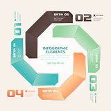 Modern Origami Style Number Options Infographics Illustration