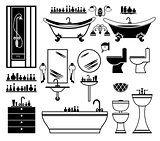Set of black icons of bathroom