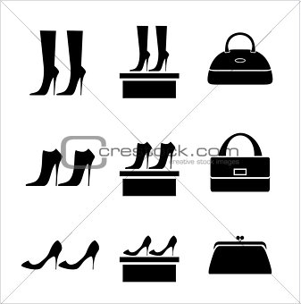 Black icons female bags and shoes