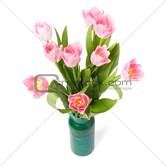 Bouquet of tulips in the green vase