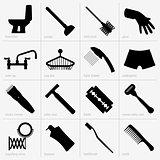 Bath accessories icons