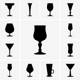 Wine glasses icons