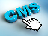 hand cursor points to a CMS