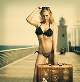 sensual lady ready to travel in vintage color