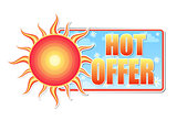 hot offer in label with sun