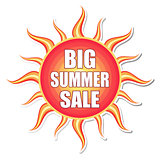 big summer sale in sun label