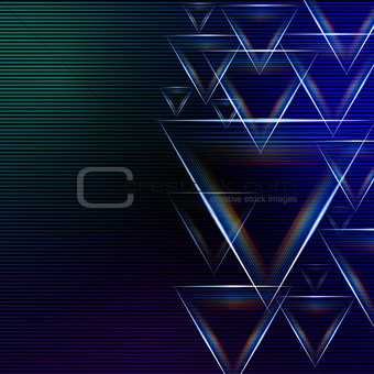 abstract blue green background with shining multicolored triangl