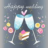 glasses of champagne wedding card