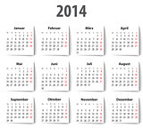 German Calendar for 2014 with shadows. Mondays first