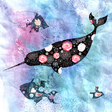 Marine background with narwhals and fish