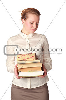 shy teacher with books
