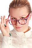 teacher in funny eyeglasses
