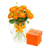 bouquet of ranunculus and gift box