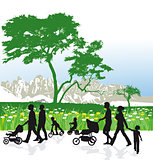 Families in mountain landscape
