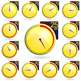 Stopwatch - Yellow Timers Set. Vector Illustration