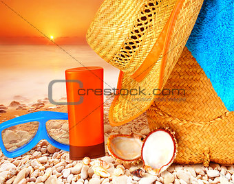 Beach items on sunset