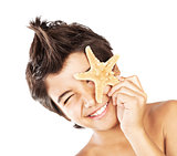 Happy face cute boy with starfish