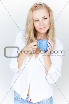 Beautiful woman with coffee cup