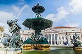 Baroque fountain on rossio square