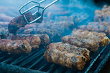 Meat rolls on the grill