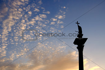 column and statue of King Sigismund III Vasa at sunset, Warsaw, Poland