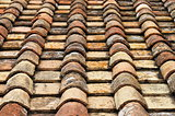 Old red roof clay tiles